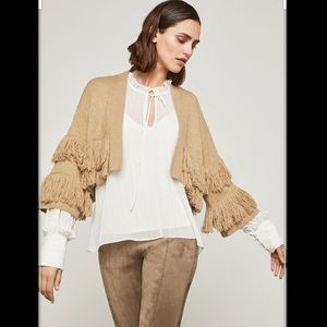 BCBG cropped fringed cardigan sweater size small